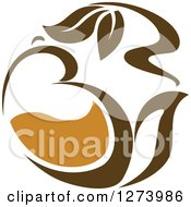 Clipart Of A Leafy Brown Tea Pot Royalty Free Vector Illustration