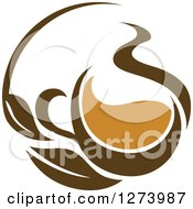 Clipart Of A Leafy Brown Tea Cup 7 Royalty Free Vector Illustration
