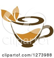 Clipart Of A Leafy Brown Tea Cup Royalty Free Vector Illustration