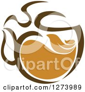 Clipart Of A Leafy Brown Tea Pot 2 Royalty Free Vector Illustration