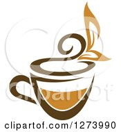 Clipart Of A Leafy Brown Tea Cup 2 Royalty Free Vector Illustration