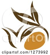 Clipart Of A Leafy Brown Tea Pot 5 Royalty Free Vector Illustration