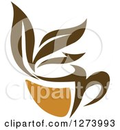 Clipart Of A Leafy Brown Tea Cup 9 Royalty Free Vector Illustration