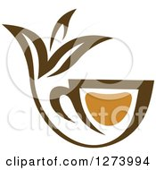Clipart Of A Leafy Brown Tea Cup 10 Royalty Free Vector Illustration