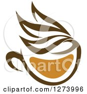 Clipart Of A Leafy Brown Tea Cup 12 Royalty Free Vector Illustration
