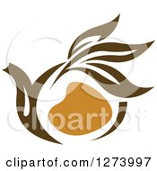 Clipart Of A Leafy Brown Tea Pot 6 Royalty Free Vector Illustration