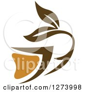 Clipart Of A Leafy Brown Tea Cup 13 Royalty Free Vector Illustration