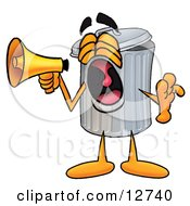Garbage Can Mascot Cartoon Character Screaming Into A Megaphone by Toons4Biz