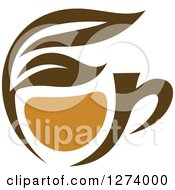 Clipart Of A Leafy Brown Tea Cup 8 Royalty Free Vector Illustration