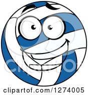 Clipart Of A Happy Blue And White Volleyball Royalty Free Vector Illustration by Vector Tradition SM