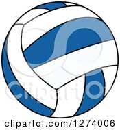 Clipart Of A Blue And White Volleyball Royalty Free Vector Illustration by Vector Tradition SM