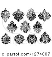 Clipart Of Black And White Arabesque Damask Designs 6 Royalty Free Vector Illustration