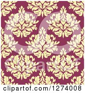 Clipart Of A Seamless Background Pattern Of Yellow Damask Floral On Pink Royalty Free Vector Illustration