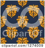 Clipart Of A Seamless Background Pattern Of Orange Damask Floral On Navy Blue Royalty Free Vector Illustration