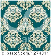Clipart Of A Seamless Background Pattern Of Tan Damask Floral On Blue Royalty Free Vector Illustration