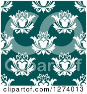 Clipart Of A Seamless Background Pattern Of White Damask Floral On Teal Royalty Free Vector Illustration