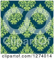 Clipart Of A Seamless Background Pattern Of Green Damask Floral On Teal Royalty Free Vector Illustration