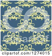 Clipart Of A Seamless Background Pattern Of Yellow Damask Floral On Blue Royalty Free Vector Illustration