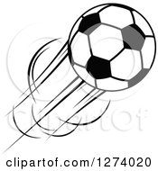 Clipart Of A Black And White Flying Soccer Ball 11 Royalty Free Vector Illustration by Vector Tradition SM