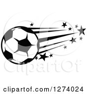 Clipart Of A Black And White Flying Soccer Ball With Stars Royalty Free Vector Illustration by Vector Tradition SM
