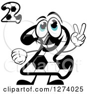 Soccer Ball Number Twos With A Character Holding Up Two Fingers