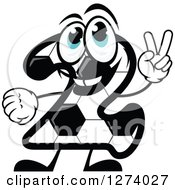 Soccer Ball Number Two Character Holding Up Two Fingers