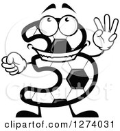 Soccer Ball Number Three Character Holding Up 3 Fingers
