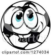 Smiling Blue Eyed Soccer Ball Character