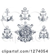 Clipart Of Navy Blue Nautical Anchors And A Helm Royalty Free Vector Illustration