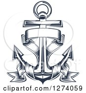 Clipart Of A Navy Blue Nautical Anchor And Banner 4 Royalty Free Vector Illustration
