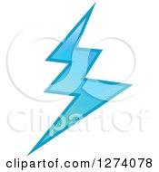 Clipart Of A Bolt Of Blue Lightning Royalty Free Vector Illustration