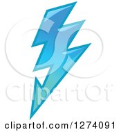 Clipart Of A Bolt Of Blue Lightning 7 Royalty Free Vector Illustration