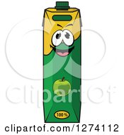 Clipart Of A Happy Carton Of Apple Juice Royalty Free Vector Illustration
