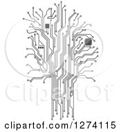 Clipart Of A Grayscale Computer Chip And Circuit Tree Royalty Free Vector Illustration