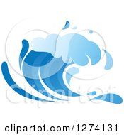 Clipart Of A Blue Splashing Ocean Surf Wave Royalty Free Vector Illustration