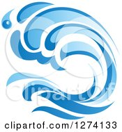 Clipart Of A Blue Splashing Ocean Surf Wave 3 Royalty Free Vector Illustration