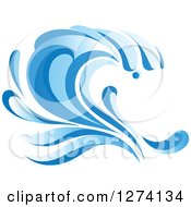 Clipart Of A Blue Splashing Ocean Surf Wave 4 Royalty Free Vector Illustration
