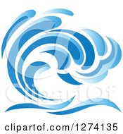 Clipart Of A Blue Splashing Ocean Surf Wave 5 Royalty Free Vector Illustration