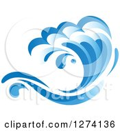 Clipart Of A Blue Splashing Ocean Surf Wave 6 Royalty Free Vector Illustration