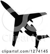 Black Silhouetted Commercial Airplane
