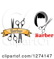 Clipart Of A Barber Scissors Under A Yellow Banner And Wig Royalty Free Vector Illustration
