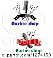 Clipart Of Barber Shop Text With Banners Combs And Scissors Royalty Free Vector Illustration