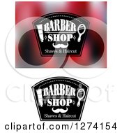 Clipart Of Barber Shop Designs With Mirrors Shaving Cream And A Mustache Royalty Free Vector Illustration
