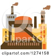 Clipart Of A Factory Building In Brown Yellow And Orange Tones 3 Royalty Free Vector Illustration