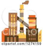 Clipart Of A Factory Building In Brown Yellow And Orange Tones 4 Royalty Free Vector Illustration