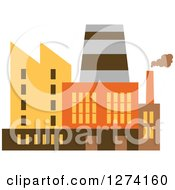 Clipart Of A Factory Building In Brown Yellow And Orange Tones 5 Royalty Free Vector Illustration