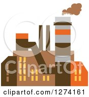 Clipart Of A Factory Building In Brown Yellow And Orange Tones 6 Royalty Free Vector Illustration