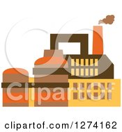 Clipart Of A Factory Building In Brown Yellow And Orange Tones 7 Royalty Free Vector Illustration