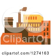 Clipart Of A Factory Building In Brown Yellow And Orange Tones Royalty Free Vector Illustration