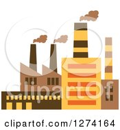 Clipart Of A Factory Building In Brown Yellow And Orange Tones 2 Royalty Free Vector Illustration